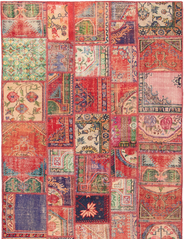 Hand-knotted Turkish Bohemian  Transitional Vintage-Anatolia-Patch Area rug  Red 6.8 x 9.1