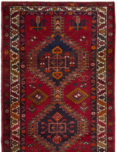 Hand-knotted  Bordered  Vintage Persian-Vintage Runner rug  Dark Red 3.1 x 13.5