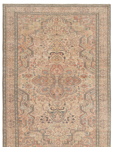 Hand-knotted Turkish Bordered  Traditional Antalya-Vintage Area rug  Cream 6.6 x 9.9