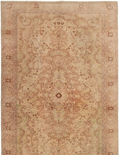 Hand-knotted Turkish Bordered  Traditional Antalya-Vintage Area rug  Ivory 6.3 x 9.1