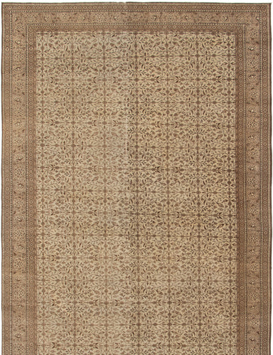 Hand-knotted Turkish Bordered  Traditional Antalya-Vintage Area rug  Cream 6.4 x 9.5