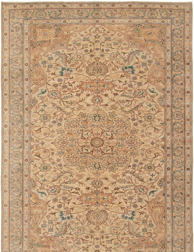 Hand-knotted Turkish Bordered  Traditional Antalya-Vintage Area rug  Ivory 6.6 x 10