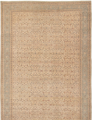 Hand-knotted Turkish Bordered  Traditional Antalya-Vintage Area rug  Ivory 6.6 x 9.7