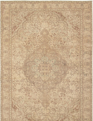 Hand-knotted Turkish Bordered  Traditional Antalya-Vintage Area rug  Ivory 6.3 x 9.3