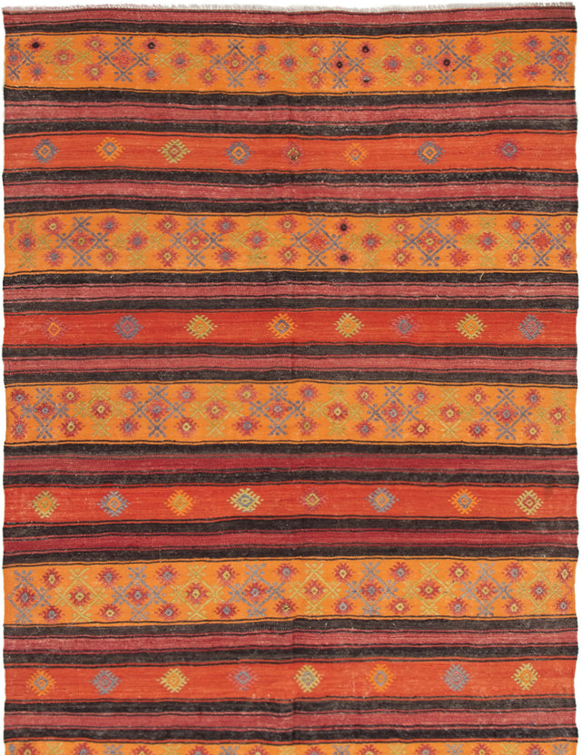 Flat-weave Area rug Bohemian, Flat-weaves & Kilims, Southwestern, Stripes, Tribal Orange, Red