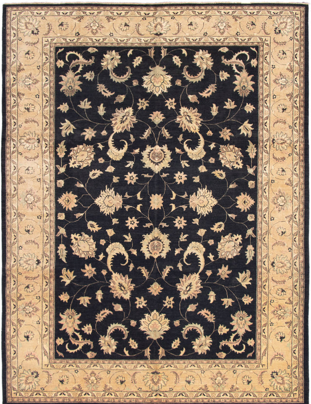 Hand-Knotted Area rug Bordered, Floral, Traditional Black