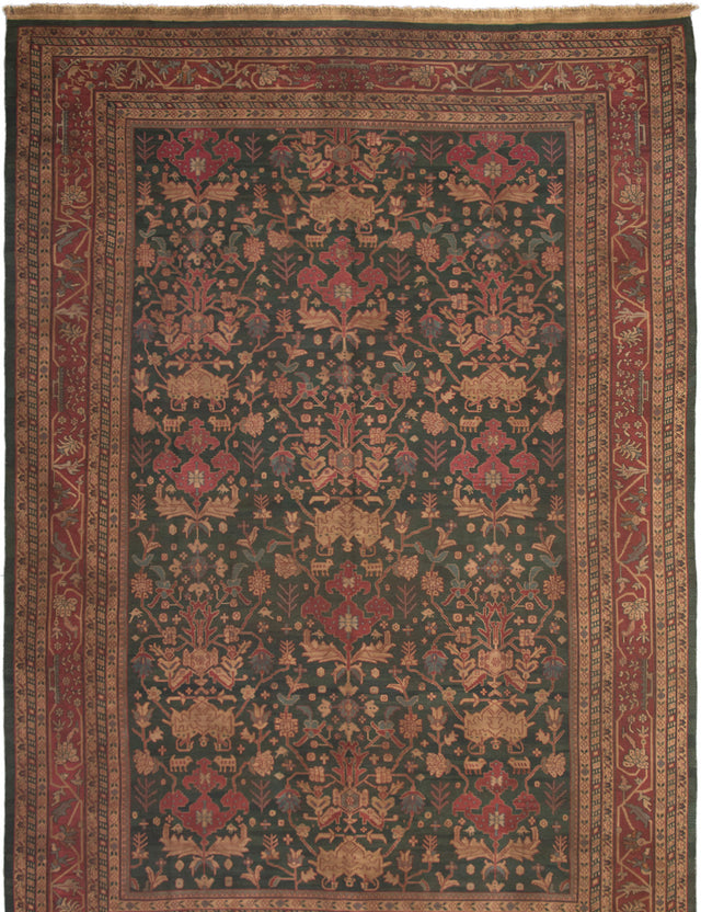 Flat-weave Area rug Bordered, Flat-weaves & Kilims, Floral, Traditional Green