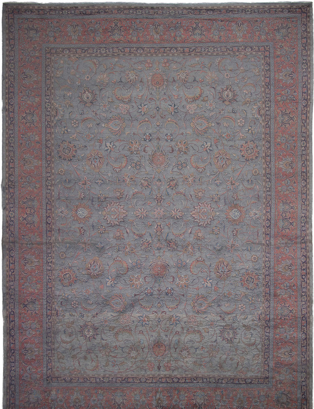 Hand-Knotted Area rug Bordered, Floral, Overdyed, Traditional Grey