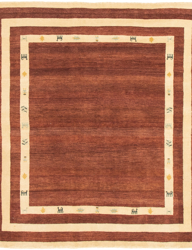 Hand-knotted Area rug Gabbeh, Tribal Brown