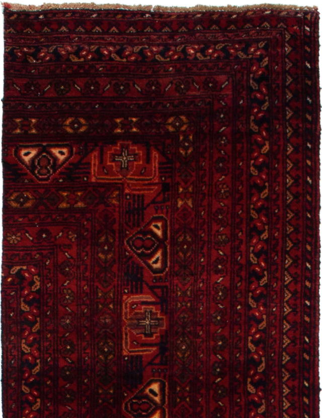Hand-knotted Area rug Bordered, Tribal, Vintage Red
