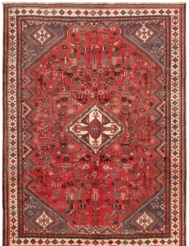 Hand-knotted Area rug Bordered, Persian, Tribal Red