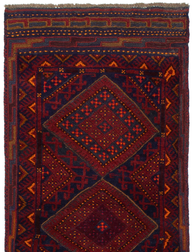 Hand-knotted Area rug Bordered, Carved, Geometric, Tribal Red