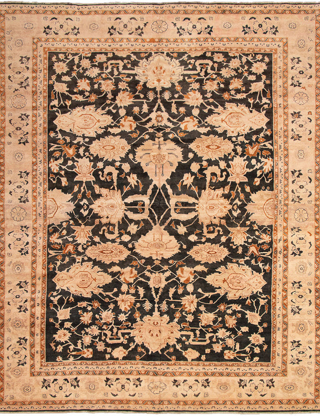 Hand-knotted Area rug Bordered, Floral, Traditional Black, Brown