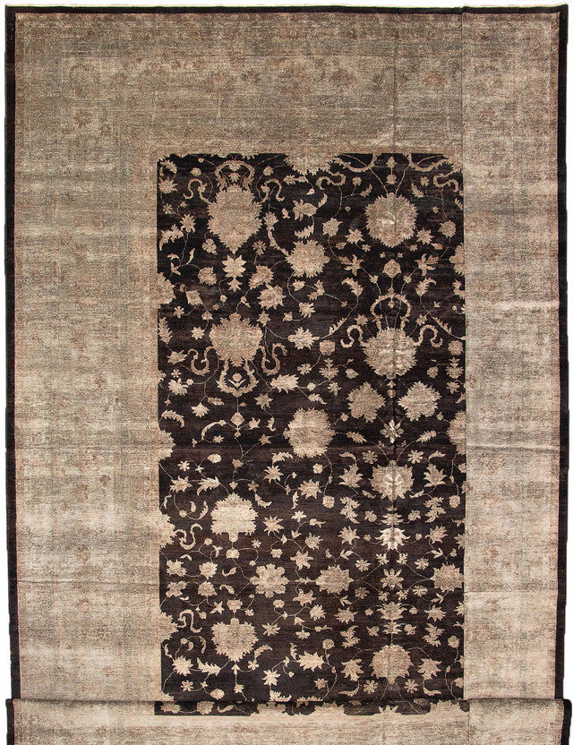Hand-knotted Area rug Bordered, Floral, Overdyed, Transitional Black