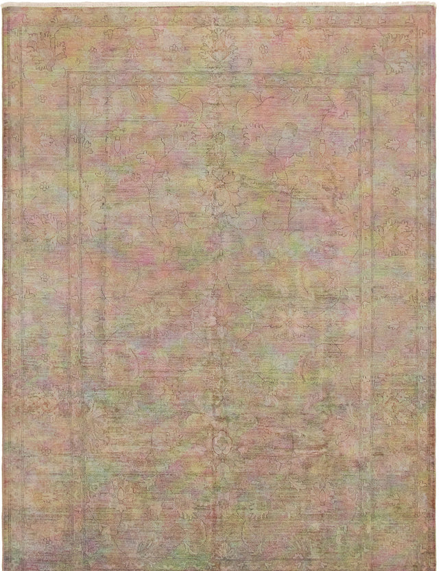Hand-knotted Area rug Bordered, Overdyed, Transitional Brown, Purple