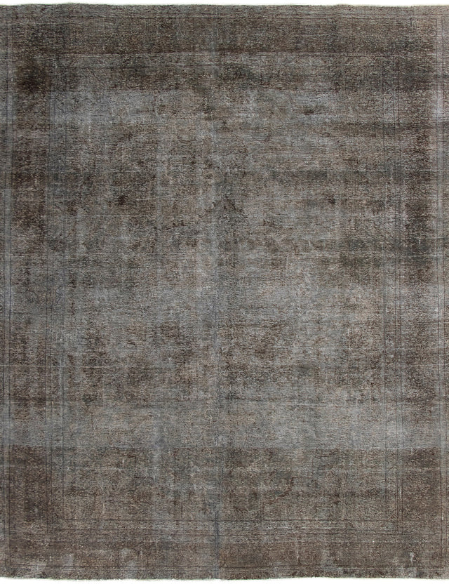 Hand-knotted Area rug Bordered, Overdyed, Transitional Grey