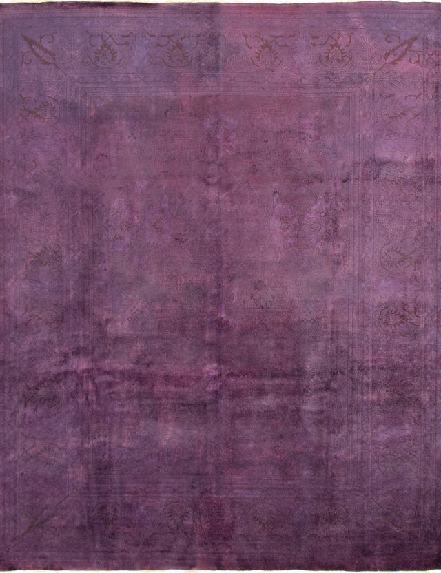 Hand-knotted Area rug Overdyed, Transitional Purple