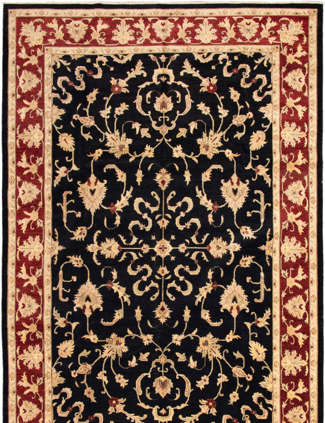Hand-knotted Area rug Bordered, Floral, Traditional Black, Red