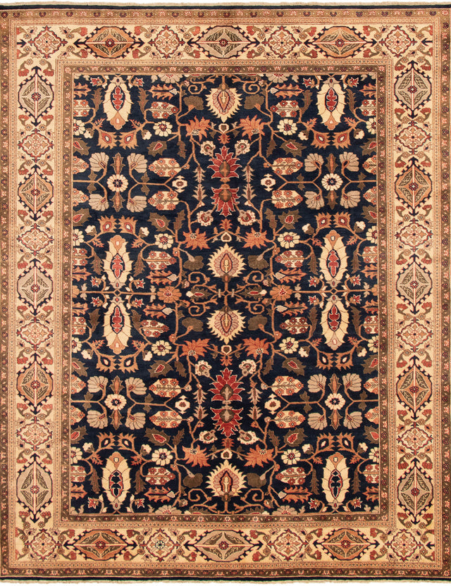 Hand-knotted Area rug Bordered, Floral, Traditional Blue, Ivory