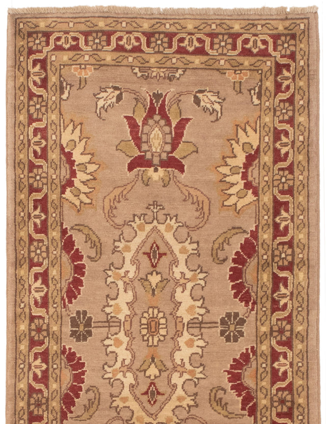 Hand-knotted Area rug Casual, Floral, Transitional Brown, Ivory