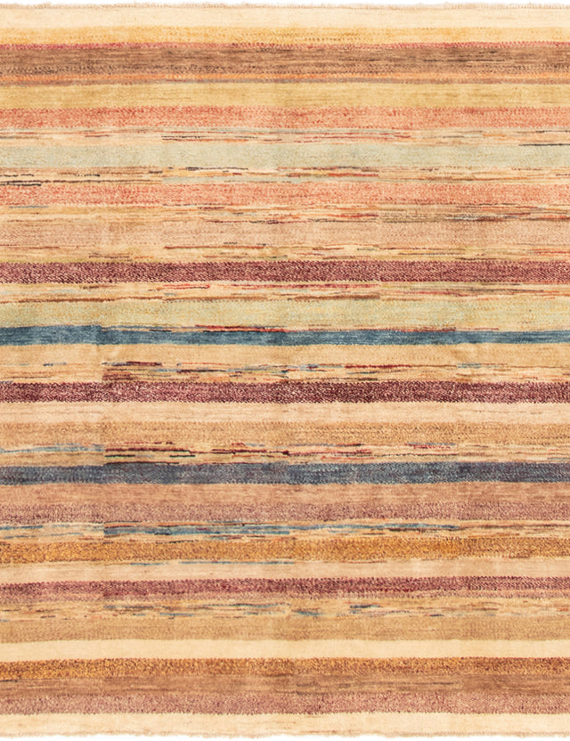 Hand-knotted Area rug Casual, Stripes, Transitional Brown