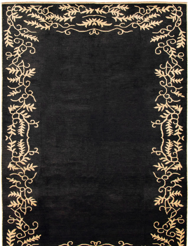 Hand-knotted Area rug Casual, Transitional Black