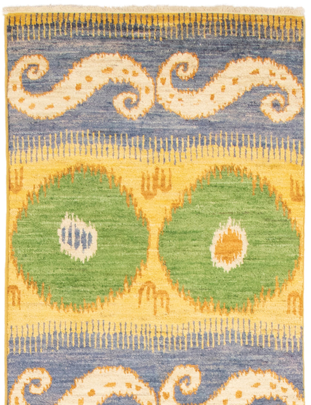 Hand-knotted Area rug Casual, Contemporary, Transitional Green