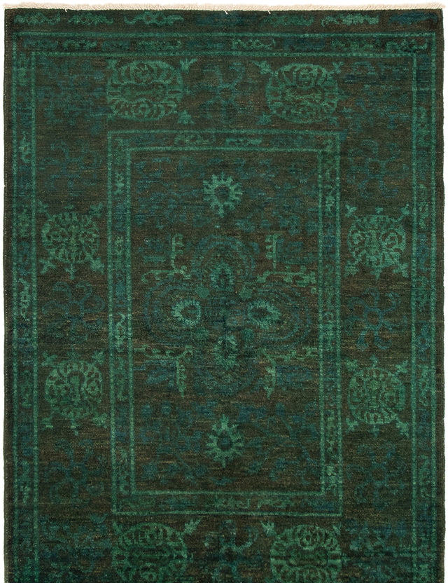 Hand-knotted Area rug Bordered, Overdyed, Transitional Brown, Green