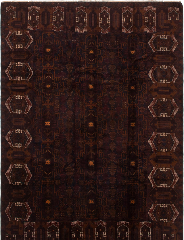 Hand-knotted Area rug Bordered, Tribal Black, Brown