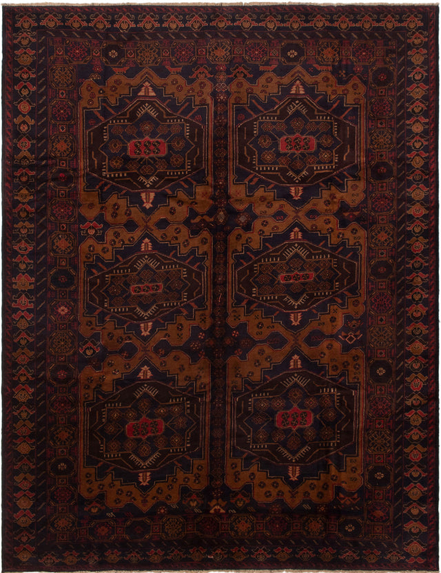 Hand-knotted Area rug Bordered, Geometric, Tribal Blue, Brown