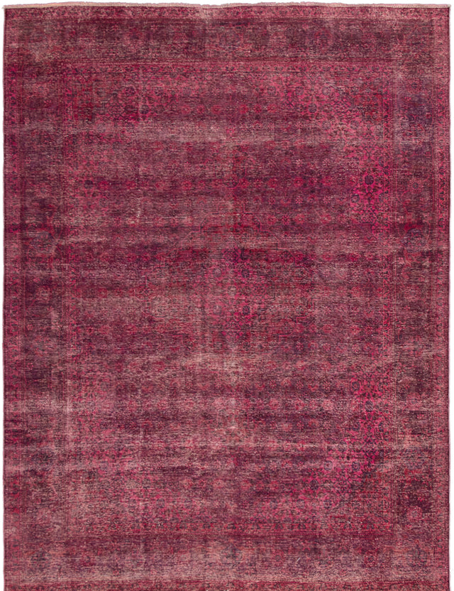 Hand-knotted Area rug Bordered, Floral, Overdyed, Traditional Red