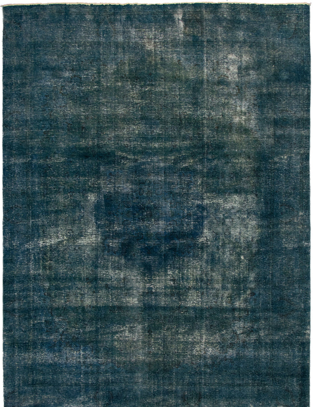 Hand-knotted Area rug Bordered, Floral, Overdyed, Traditional Blue, Green