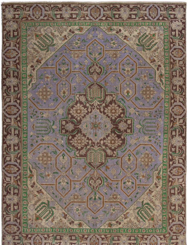 Hand-knotted Area rug Bordered, Floral, Transitional Blue, Green