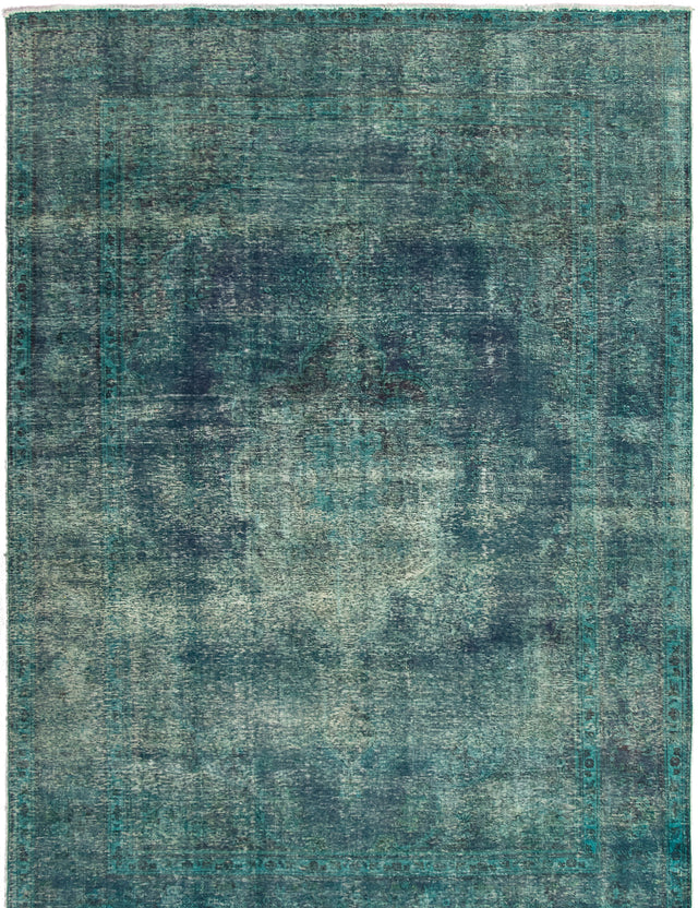 Hand-knotted Area rug Bordered, Floral, Overdyed, Transitional Blue, Green