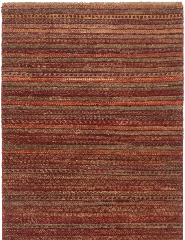 Hand-knotted Area rug Carved, Stripes, Transitional