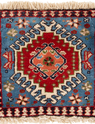 Hand-knotted Area rug Bordered, Geometric, Persian, Traditional, Tribal Blue, Red