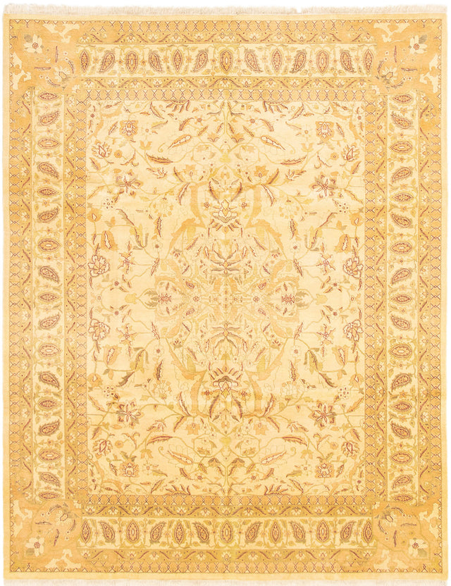 Hand-knotted Area rug Bordered, Geometric, Traditional Ivory, Multi