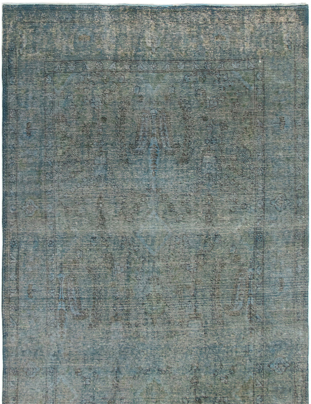 Hand-knotted Area rug Bordered, Overdyed, Transitional Green