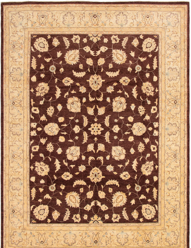 Hand-knotted Area rug Bordered, Floral, Traditional Brown, Ivory