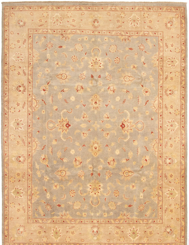 Hand-knotted Area rug Bordered, Floral, Transitional Grey