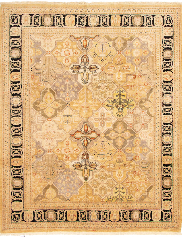 Hand-knotted Area rug Bordered, Geometric, Traditional Green