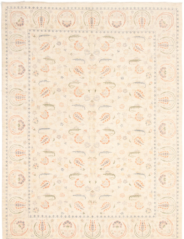 Hand-knotted Area rug Bordered, Floral, Transitional Ivory