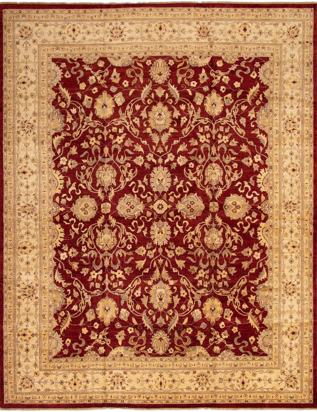 Hand-knotted Area rug Bordered, Floral, Traditional Red