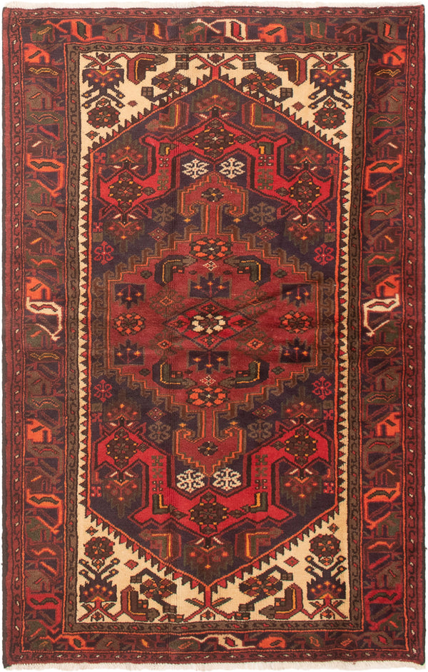 Hand-knotted Area rug Bordered, Geometric, Persian, Traditional Red