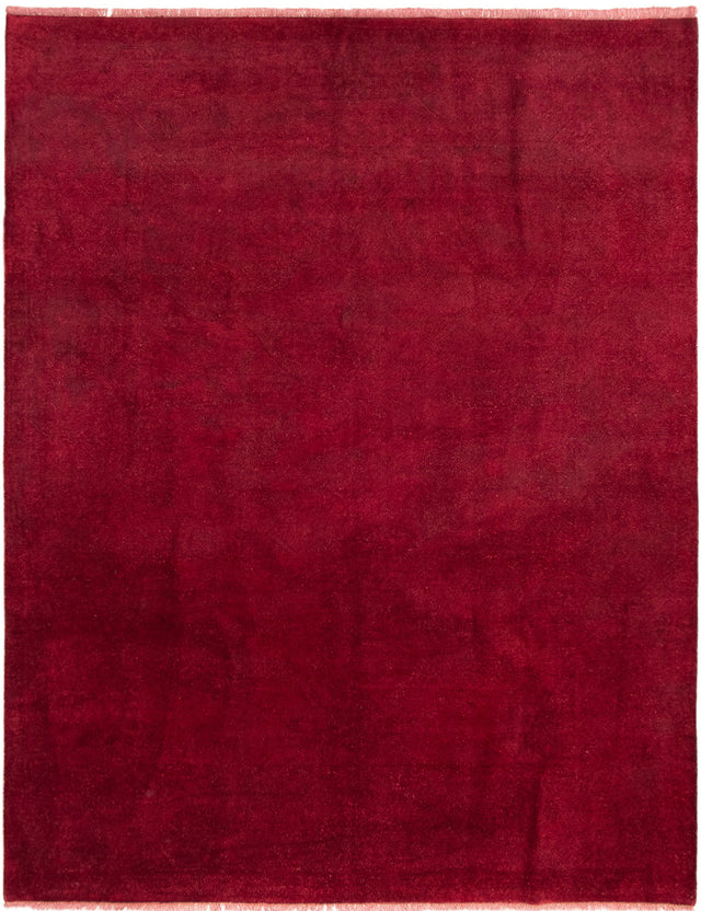 Hand-knotted Area rug Overdyed, Solid, Transitional Red
