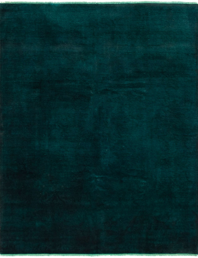 Hand-knotted Area rug Overdyed, Solid, Transitional Green