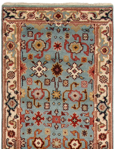 Hand-knotted Area rug Bordered, Floral, Traditional Blue
