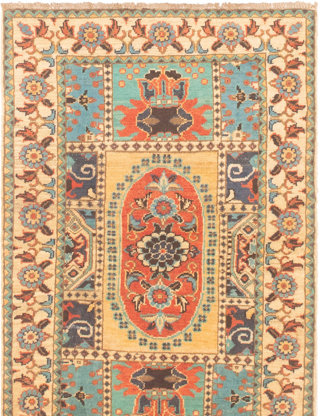 Hand-knotted Area rug Bordered, Geometric, Traditional Blue, Ivory