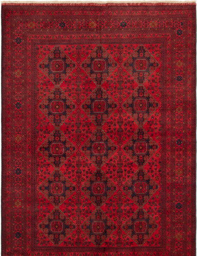 Hand-knotted Area rug Bordered, Geometric, Traditional, Tribal Red