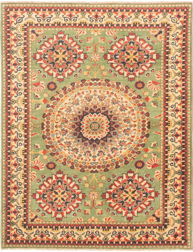 Hand-knotted Area rug Bordered, Traditional Green